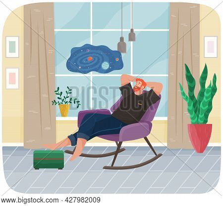 Man Lying In Armchair. Happy Smile Guy Relaxing At Home. Rest On Couch And Dream Near Big Window. Ho
