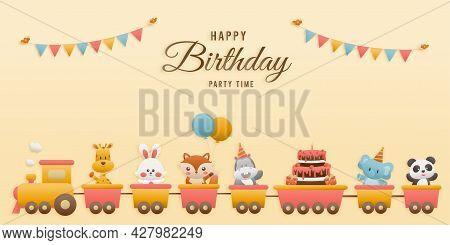 Cute Jungle Animal On Train Birthday Greeting Card. Jungle Animals Celebrate Children's Birthdays An