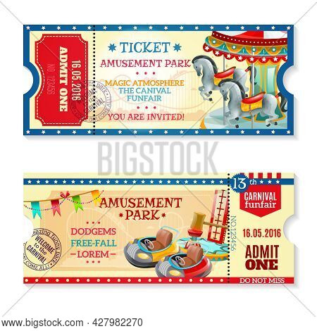 Two Invitation Tickets To Carnival In Amusement Park With Date Of Event And Funfair Decorative Eleme