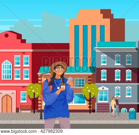 Girl With Smartphone And Coffee Is Walking. Female Character Using Mobile Device In City Center. You