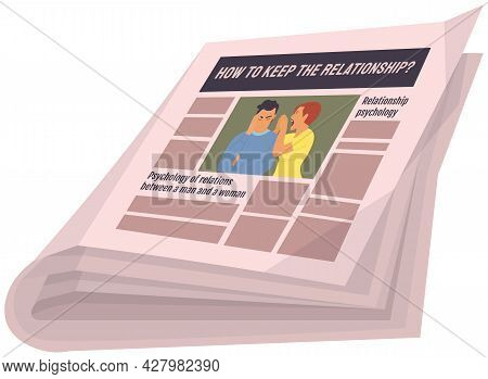 Vintage Newspaper Of Relationship Psychology. News Articles Newsprint Magazine Old Design. Printing