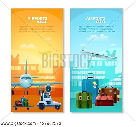 Airport Vertical Banners With Touristic Baggage And Airfield Transport Icons At Terminal Silhouette