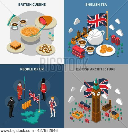 Great Britain Touristic Isometric 2x2 Icons Set With British Cultural Elements Architecture Cuisine