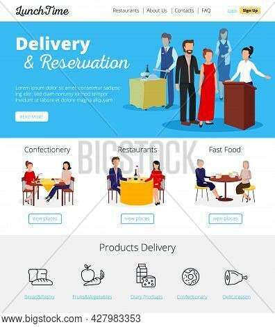 Restaurant Online Delivery Orders And Fast Food Cafe Bars  Reservations Service Infographic Flat Ban