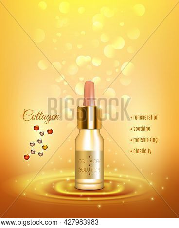 Collagen Moisturizing Solution Pipette Bottle For Strong Nails And Smooth Skin Golden Background Adv