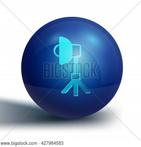 Blue Studio Light Bulb In Softbox Icon Isolated On White Background. Shadow Reflection Design. Blue
