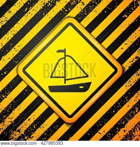 Black Yacht Sailboat Or Sailing Ship Icon Isolated On Yellow Background. Sail Boat Marine Cruise Tra
