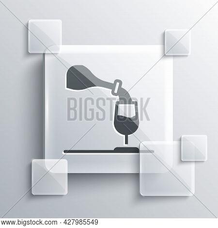 Grey Wine Tasting, Degustation Icon Isolated On Grey Background. Sommelier. Smells Of Wine. Square G