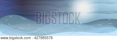 Panoramic Mountain Landscape, Peaks And Hills In The Clouds - Vector Illustration