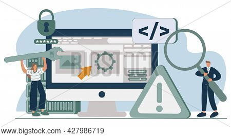 Website Architecture Abstract Concept Vector Illustration Set. Web Development, Php And Mysql, Cms C