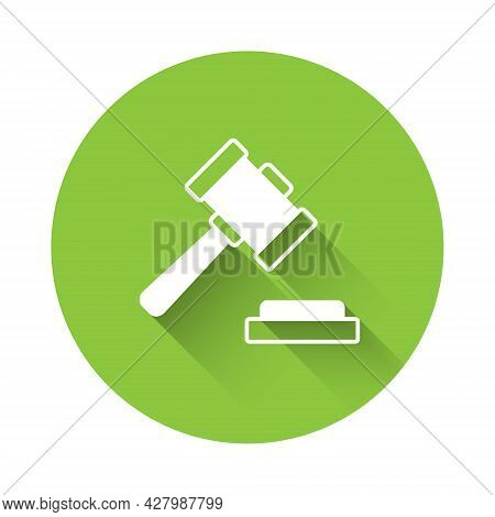 White Judge Gavel Icon Isolated With Long Shadow Background. Gavel For Adjudication Of Sentences And