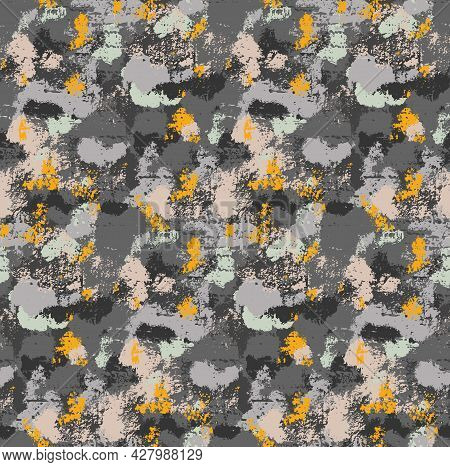 Seamless Grunge Natural Pattern. The Texture Of The Stone With Moss And Shingles. Vector Wallpaper W