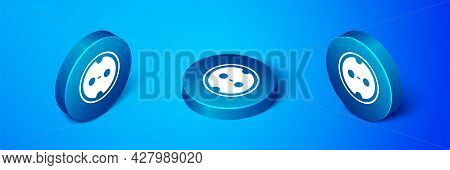 Isometric Electrical Outlet Icon Isolated On Blue Background. Power Socket. Rosette Symbol. Blue Cir