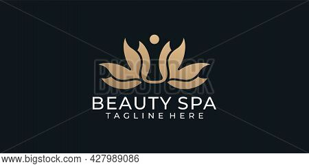 Luxury Beauty Spa Boutique Wedding Feminine Logo Design Inspiration. Logo Can Be Used For Icon, Bran