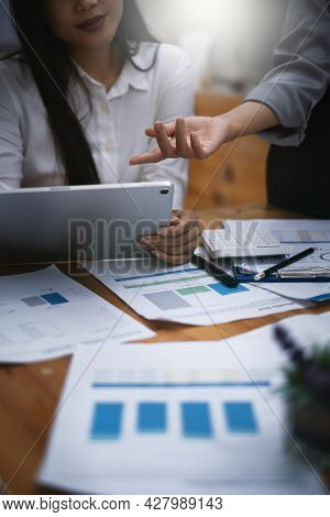 Fund Managers Team Consultation And Discuss About Analysis Investment Stock Market. Finance Investme