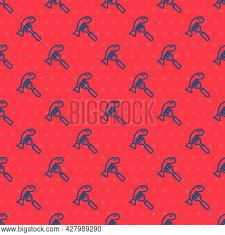 Blue Line Served Fish On A Plate Icon Isolated Seamless Pattern On Red Background. Vector