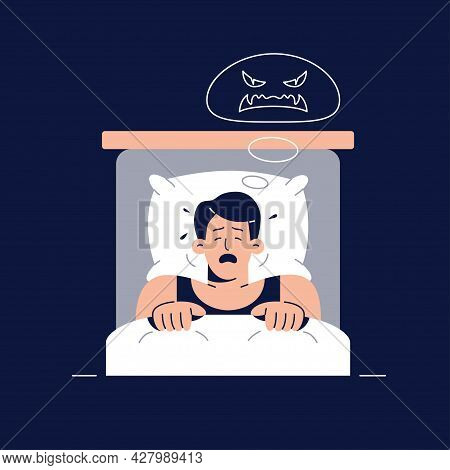 Nightmare Vector Illustration. Frightened Man Character Has A Bad Dream, Is Scared Of Monster From N
