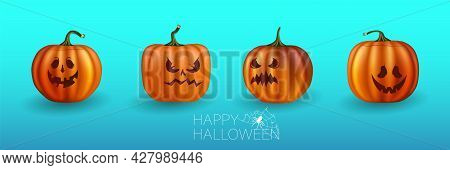 Set Of Halloween Pumpkins, Funny Faces. Autumn Holidays. Vector Illustration Eps10. Yellow Pumpkins
