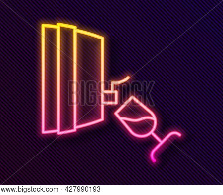 Glowing Neon Line Wine Tasting, Degustation Icon Isolated On Black Background. Wooden Barrel For Win