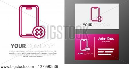 Logotype Line No Cell Phone Icon Isolated On White Background. No Talking And Calling Sign. Cell Pro