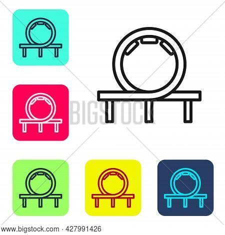 Black Line Roller Coaster Icon Isolated On White Background. Amusement Park. Childrens Entertainment