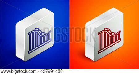 Isometric Line Roller Coaster Icon Isolated On Blue And Orange Background. Amusement Park. Childrens
