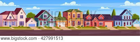 Rural Cottages, Suburban Street With Modern Buildings With Garages And Green Trees. Home Facades Wit