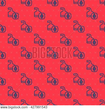 Blue Line Traditional Brewing Vessels In Brewery Icon Isolated Seamless Pattern On Red Background. B