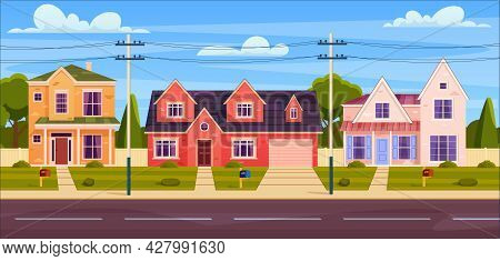 Rural Cottages, Suburban Street With Modern Buildings With Garages And Green Trees. Cottage Real Est