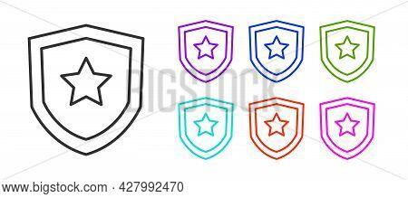 Black Line Police Badge Icon Isolated On White Background. Sheriff Badge Sign. Set Icons Colorful. V