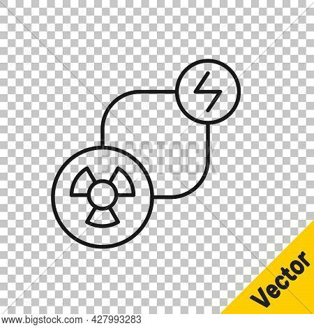 Black Line Radioactive Exchange Energy Icon Isolated On Transparent Background. Radioactive Toxic Sy