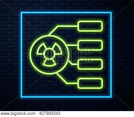 Glowing Neon Line Radioactive Icon Isolated On Brick Wall Background. Radioactive Toxic Symbol. Radi