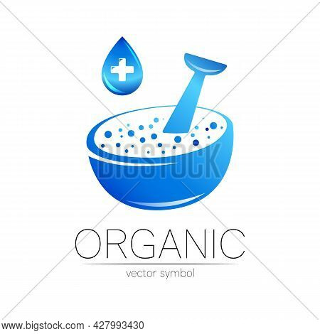 Organic Vector Symbol In Blue Color. Concept Logo With Cross And Drop For Business. Herbal Sign For