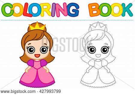 Coloring Page Funny Smiling Queen. Educational Tracing Coloring Book For Childrens Activity. Trace D