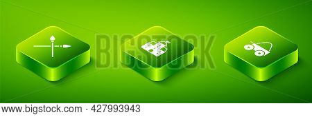 Set Isometric Castle, Fortress, Wooden Four-wheel Cart And Crossed Medieval Spears Icon. Vector