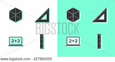 Set Ruler, Geometric Figure Cube, Chalkboard And Triangular Ruler Icon. Vector