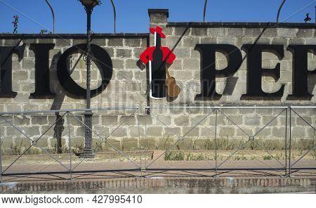 Jerez De La Frontera, Spain - June 1st, 2019: Large Tio Pepe Bottle Logo Attached To Gonzales Byass