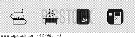 Set Book, Schoolboy Sitting At Desk, Exam Sheet With A Plus Grade And Classroom Icon. Vector