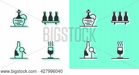 Set Wine Tasting, Degustation, Italian Fiasco Bottle, Bottle Of Wine And Icon. Vector