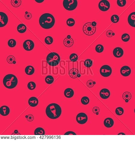 Set Bottle, Unknown Search, Meteorology Thermometer And No Direct Sunlight On Seamless Pattern. Vect