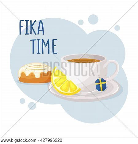 Cup Of Coffee Or Tea And Cinnamon Roll. Coffee Break Fika Concept. Isolated Hand Drawn Vector Illust
