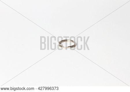 Empty Steel Keyring Isolated On White. Iron Key Ring.