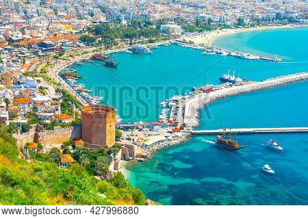 Panoramic View Of The Harbor Of Alanya On A Beautiful Summer Day. Alanya, Turkey