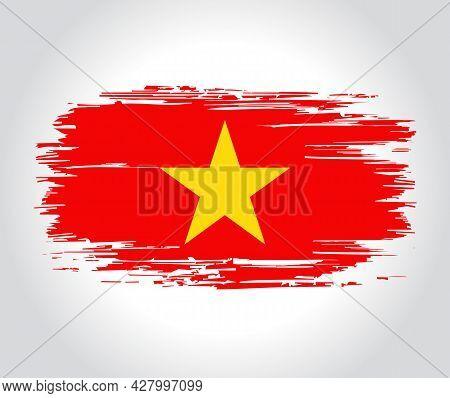 Vietnamese Flag Brush Grunge Background. Vector Illustration.
