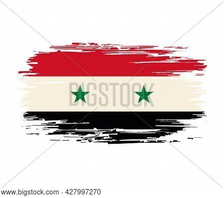Syrian Flag Brush Grunge Background. Vector Illustration.
