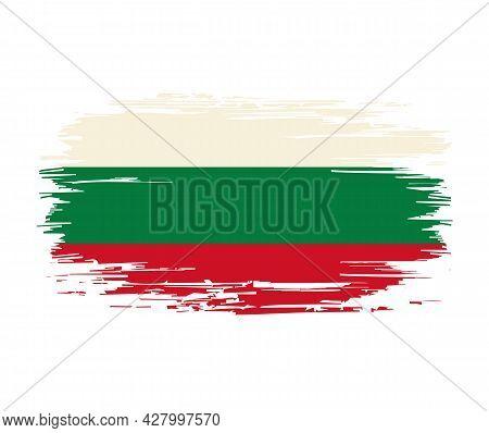 Bulgarian Flag Brush Grunge Background. Vector Illustration.