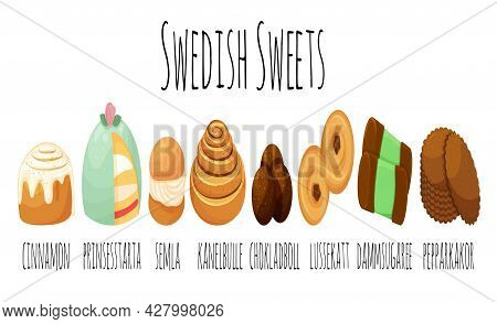 Traditional Swedish Sweets Set Kanelbulle Roll Cinnamon Bun Prinsesstarta Semla Chokladboll Lussekat