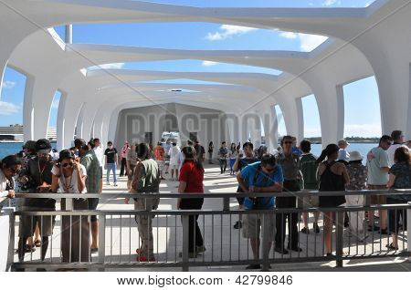The USS Arizona Memorial at Pearl Harbor in Honolulu, Hawaii