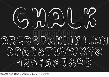 Set Of Retro Hand Drawn Alphabet Letters Drawing With White Chalk On Black Chalkboard Simple Flat Ve