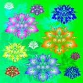 Flower abstract background with lilas yellow blue and red flower poster
